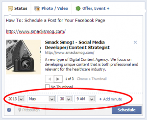 How to: schedule posts for your Facebook page.