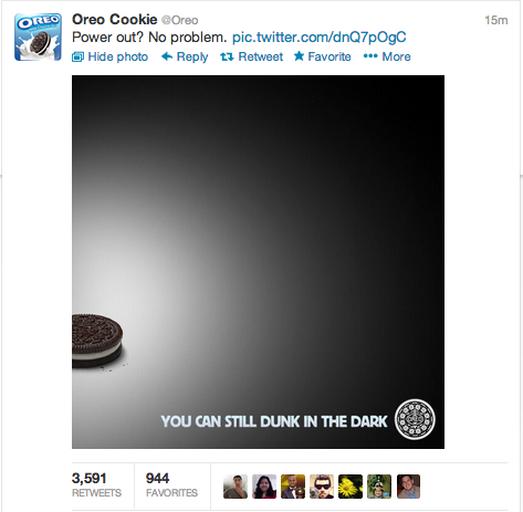 oreo super bowl tweet; pictures in social media